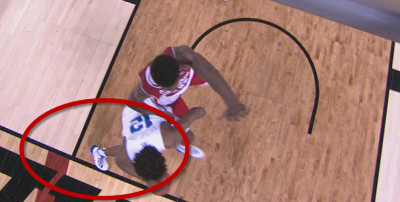 No call...Winslow clearly steps out!